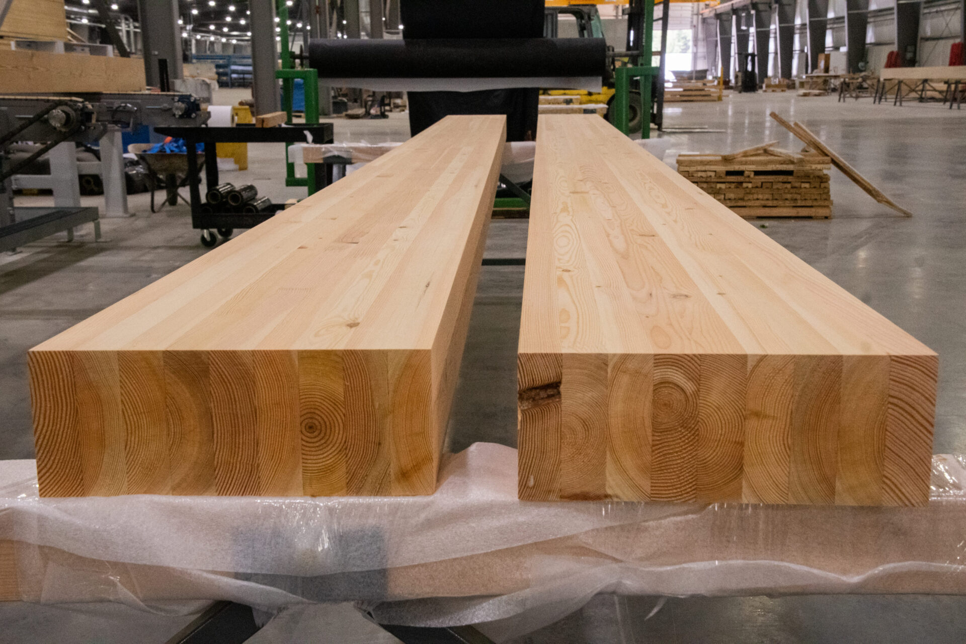 two long douglas fir glulam beams scaled and lying down in mass timber facility