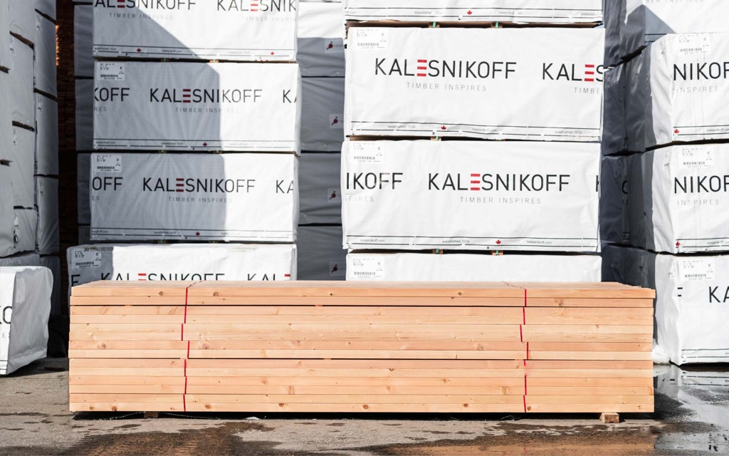 japan zairai taruki lumber piled on palette in mass timber facility