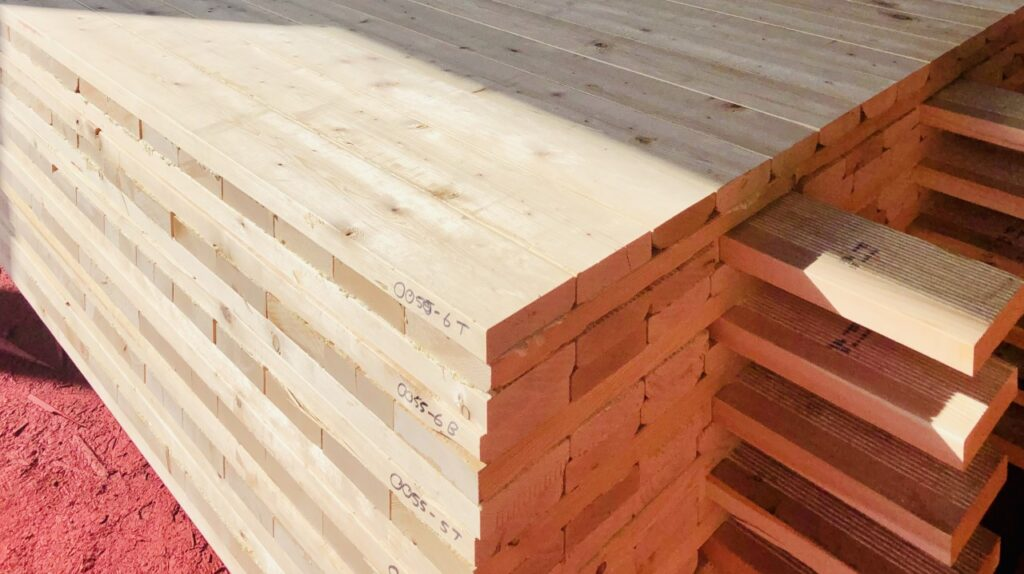 palette of neatly stacked mass timber access mats