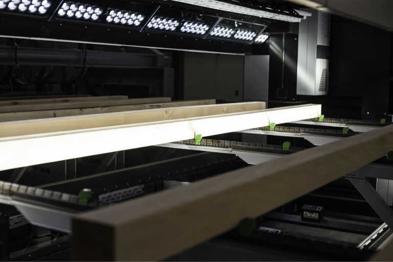 engineered mass timber product on production line