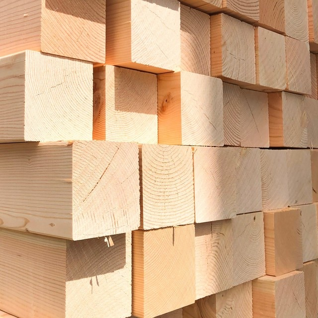 japan zairai lumber product stacked and showing cross section